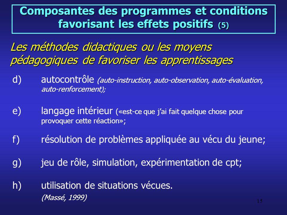 Composantes des programmes et conditions favorisant les effets positifs (5)