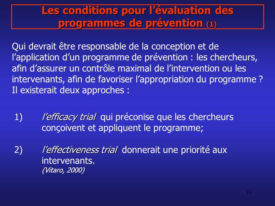 Les conditions pour l'évaluation des programmes de prévention (1)