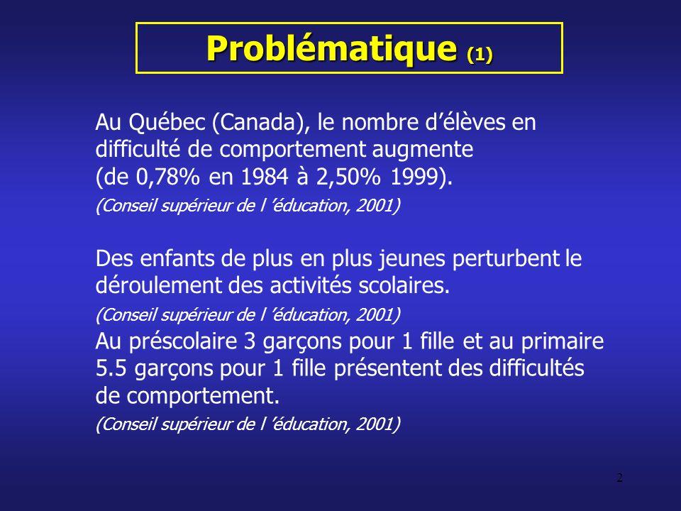 Problématique (1) Au Québec (Canada), le nombre d'élèves en difficulté de comportement augmente. (de 0,78% en 1984 à 2,50% 1999).