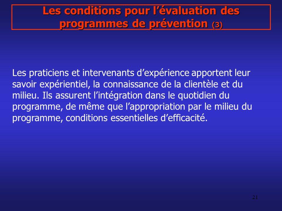 Les conditions pour l'évaluation des programmes de prévention (3)