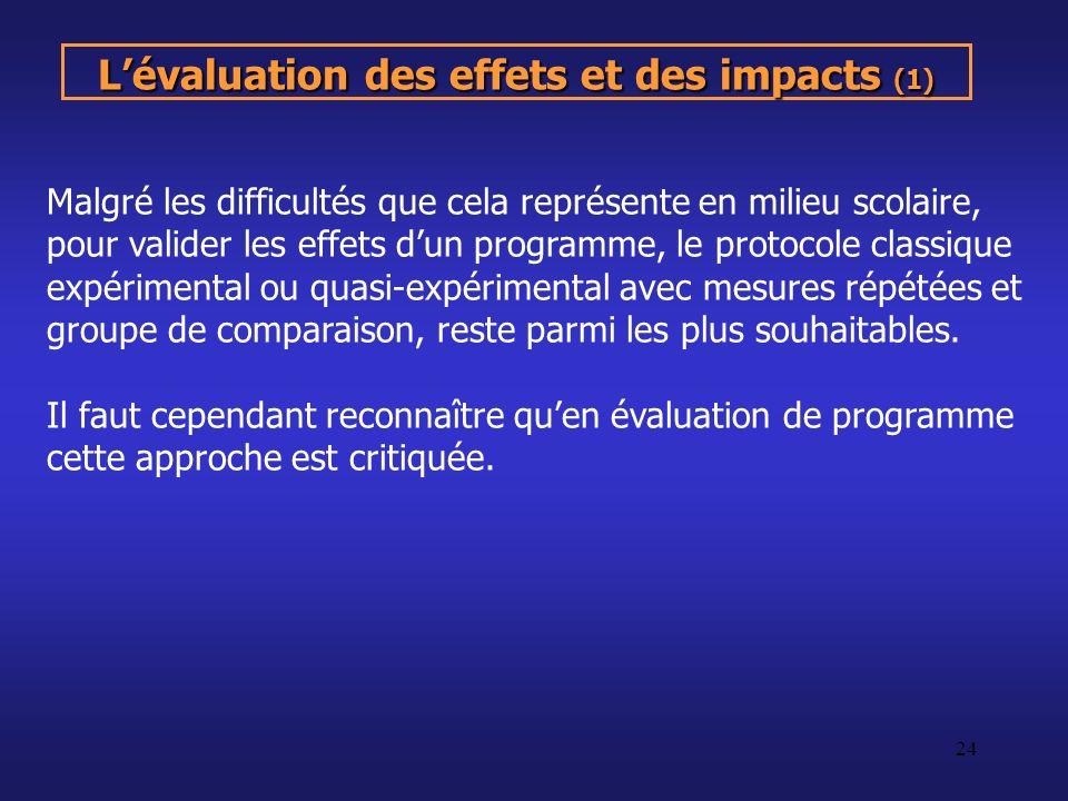 L'évaluation des effets et des impacts (1)