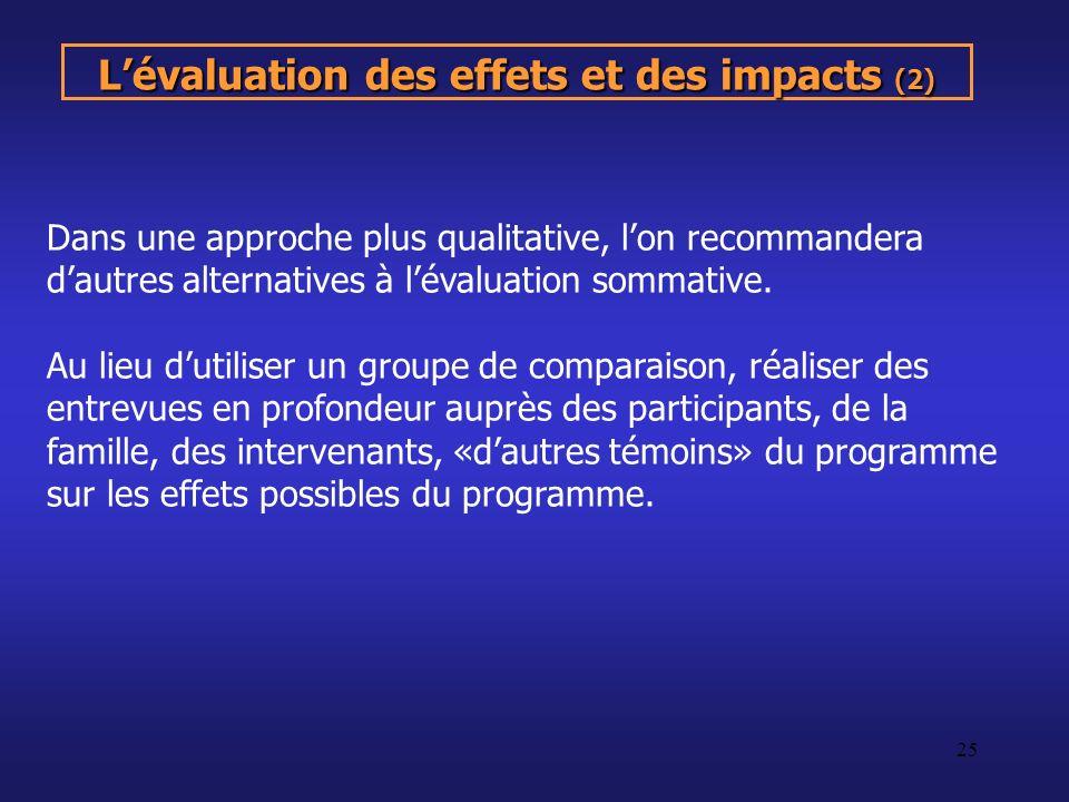 L'évaluation des effets et des impacts (2)