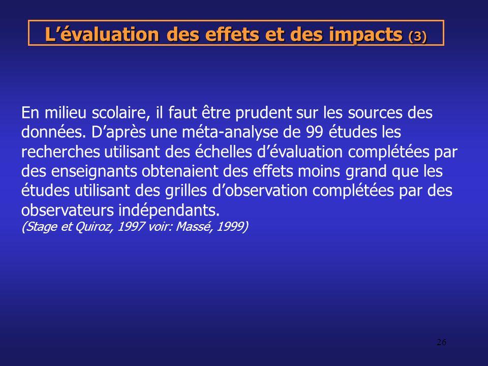 L'évaluation des effets et des impacts (3)