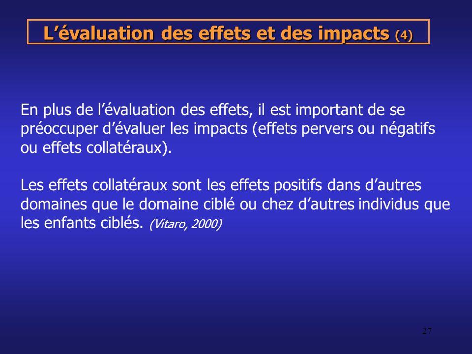 L'évaluation des effets et des impacts (4)