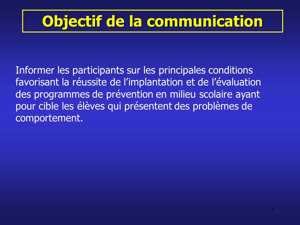 Objectif de la communication