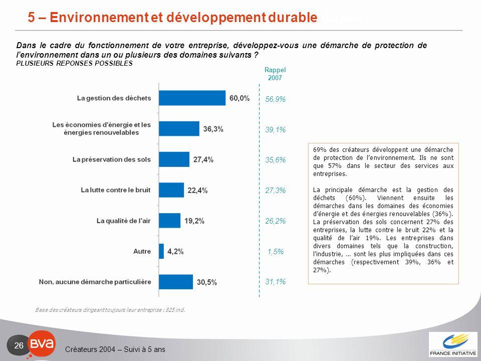 5 – Environnement et développement durable