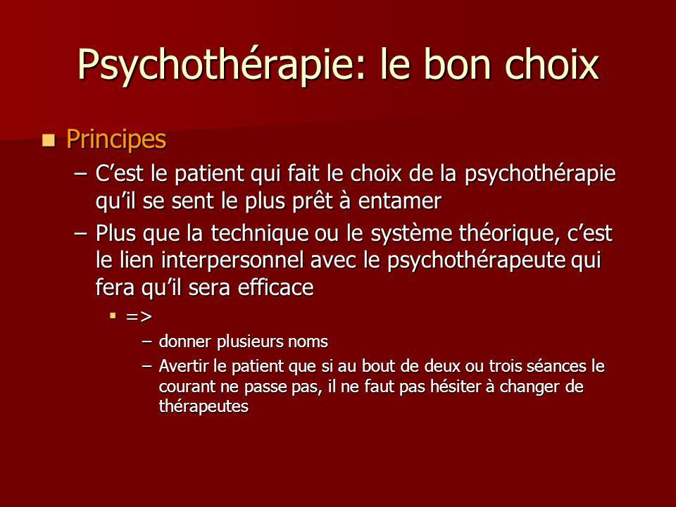 Psychothérapie: le bon choix