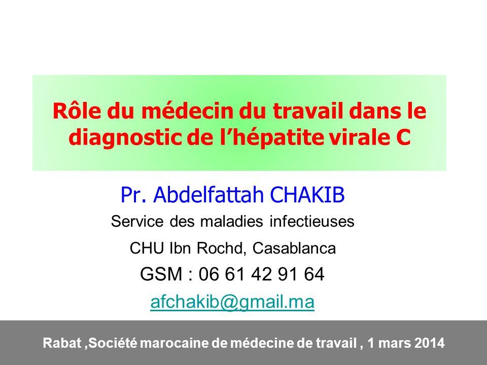Rôle du médecin du travail dans le diagnostic de l'hépatite virale C