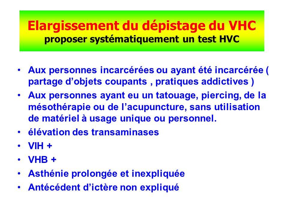 Elargissement du dépistage du VHC proposer systématiquement un test HVC