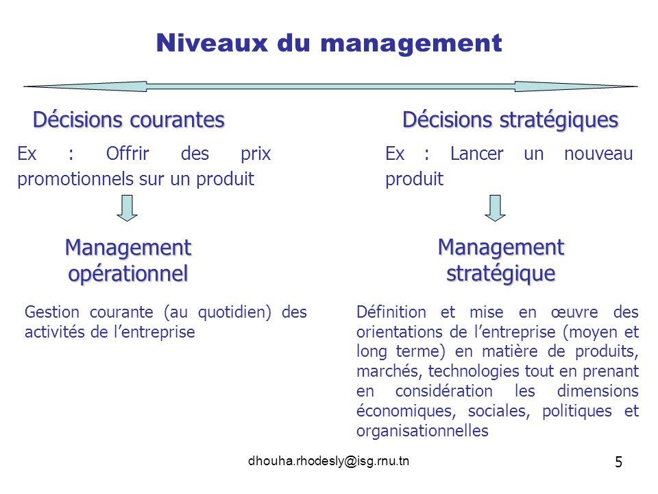 Niveaux du management Décisions courantes Décisions stratégiques
