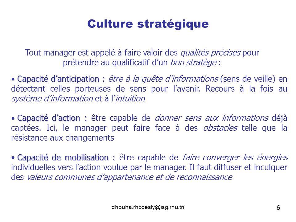 Culture stratégique Tout manager est appelé à faire valoir des qualités précises pour prétendre au qualificatif d'un bon stratège :
