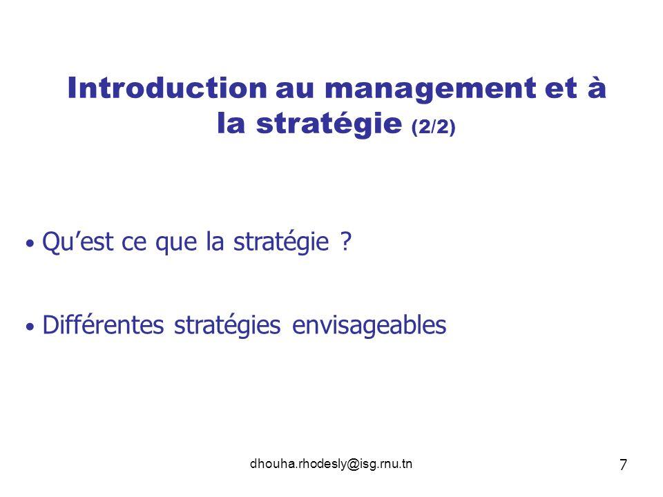 Introduction au management et à la stratégie (2/2)