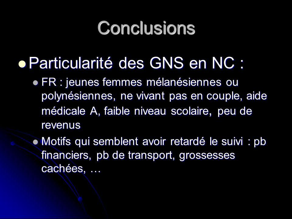 Conclusions Particularité des GNS en NC :