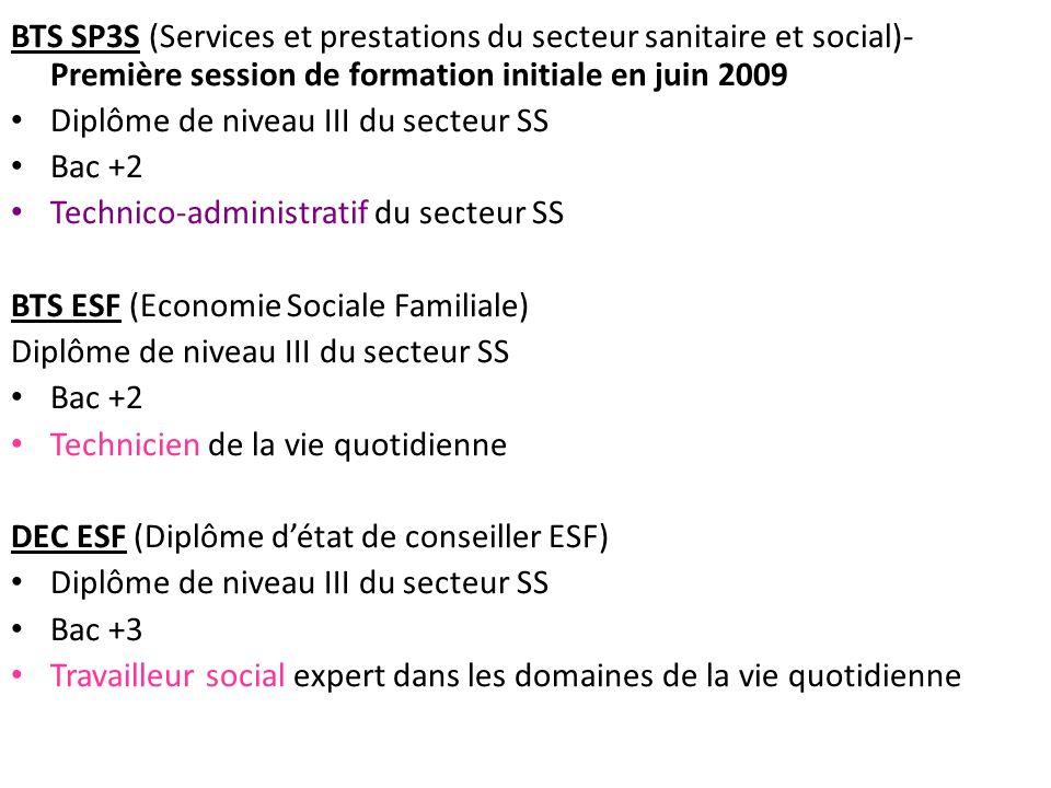 BTS SP3S (Services et prestations du secteur sanitaire et social)- Première session de formation initiale en juin 2009