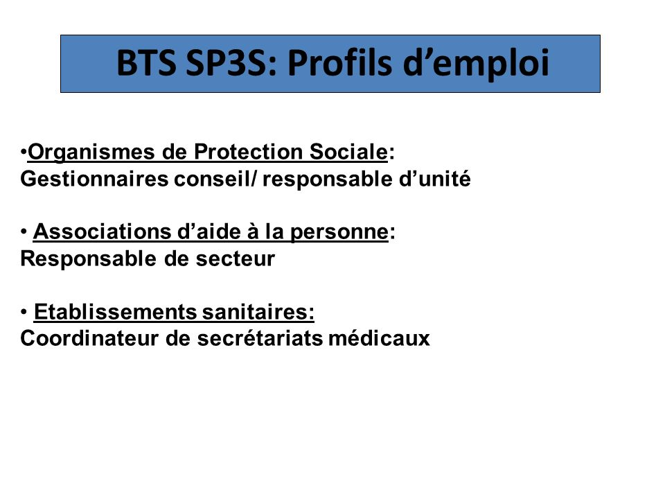 BTS SP3S: Profils d'emploi