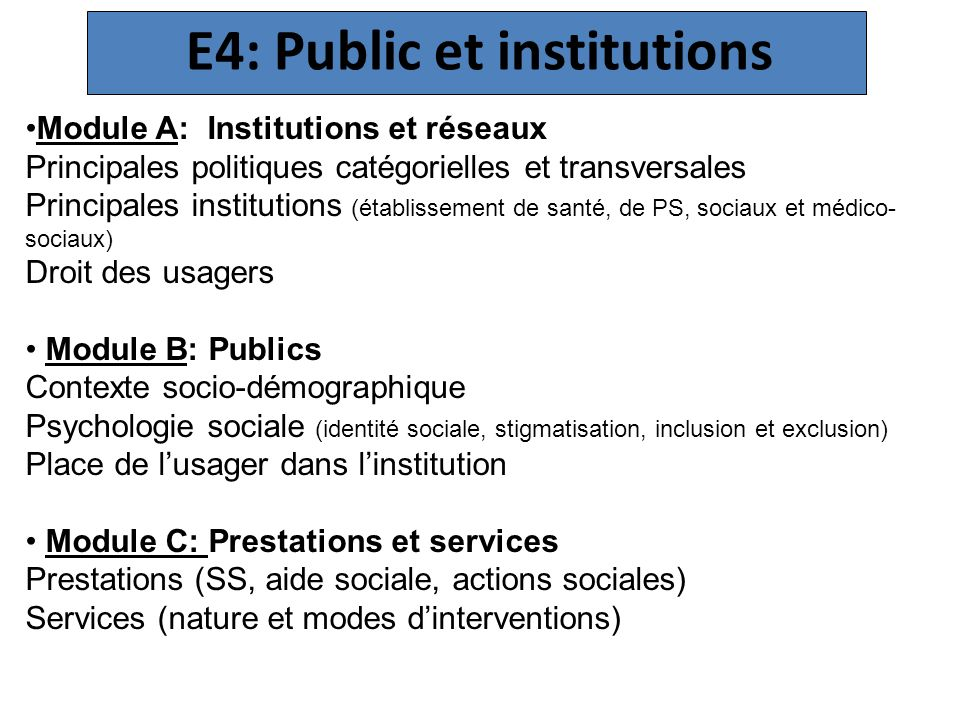 E4: Public et institutions