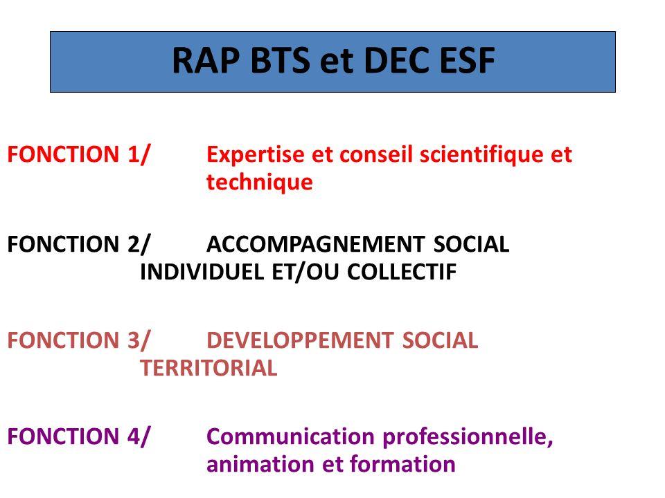 RAP BTS et DEC ESF FONCTION 1/ Expertise et conseil scientifique et technique. FONCTION 2/ ACCOMPAGNEMENT SOCIAL INDIVIDUEL ET/OU COLLECTIF.