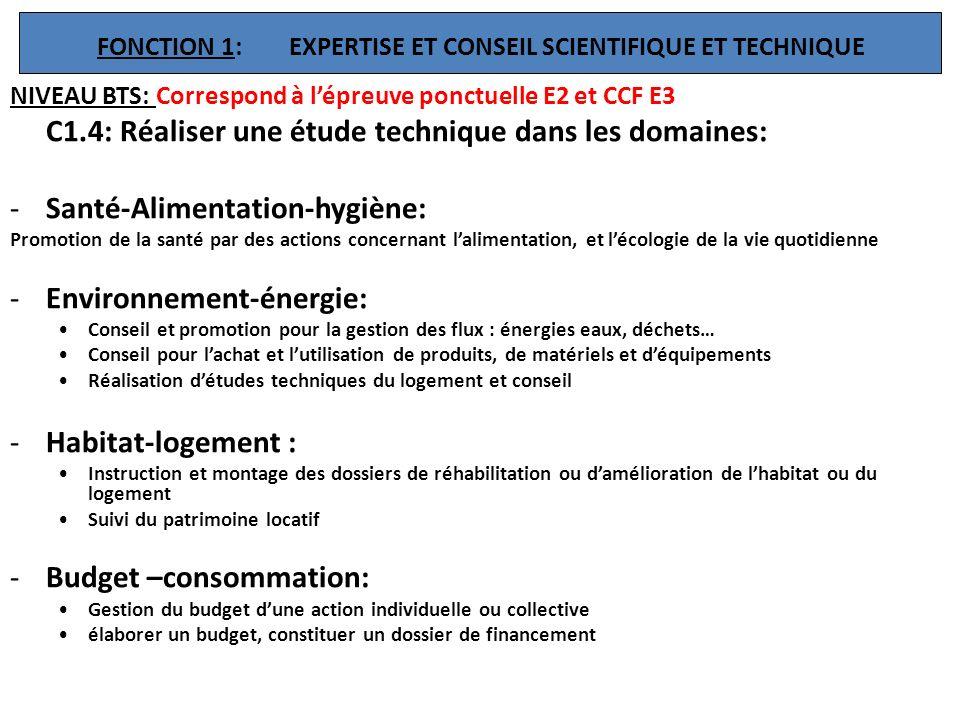FONCTION 1: EXPERTISE ET CONSEIL SCIENTIFIQUE ET TECHNIQUE