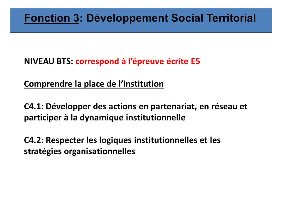 Fonction 3: Développement Social Territorial
