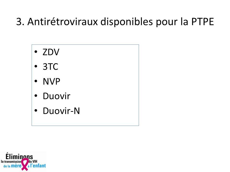 3. Antirétroviraux disponibles pour la PTPE