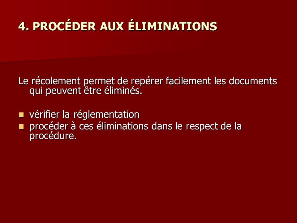 4. PROCÉDER AUX ÉLIMINATIONS