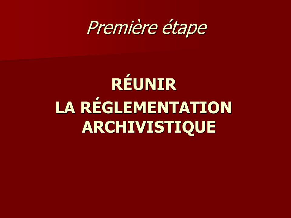 LA RÉGLEMENTATION ARCHIVISTIQUE