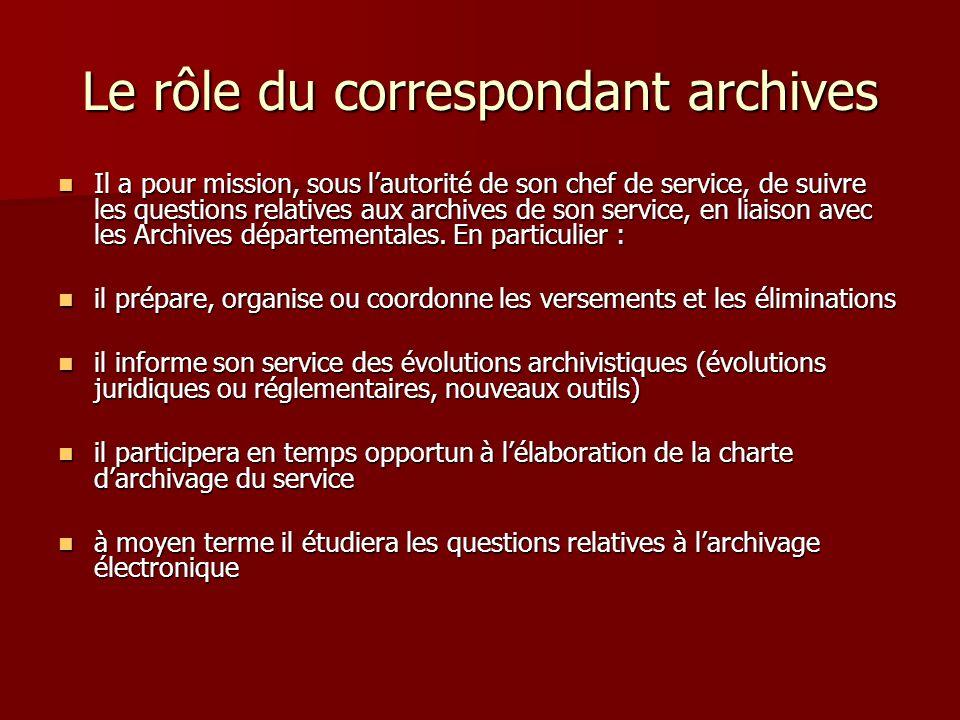 Le rôle du correspondant archives