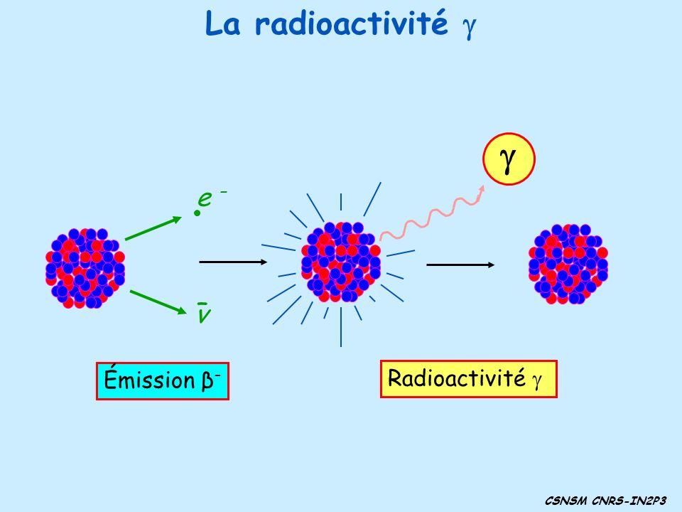 g La radioactivité g e – – ν Radioactivité g Émission β–