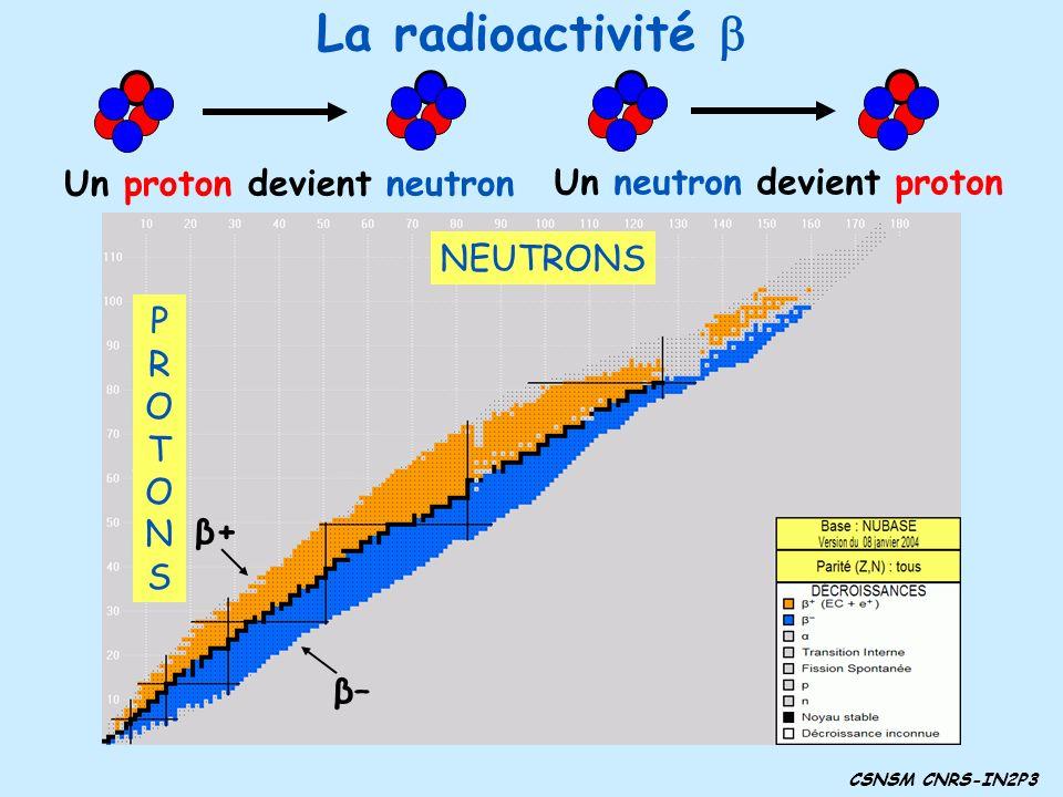 La radioactivité b Radioactivité β+ Radioactivité β–