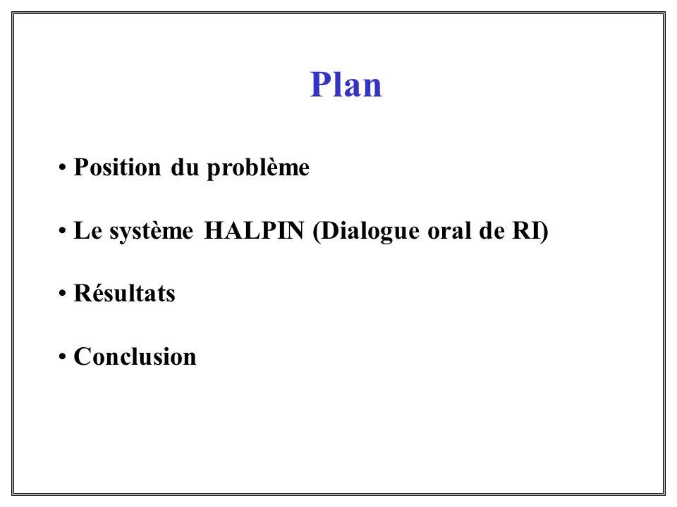Plan Position du problème Le système HALPIN (Dialogue oral de RI)