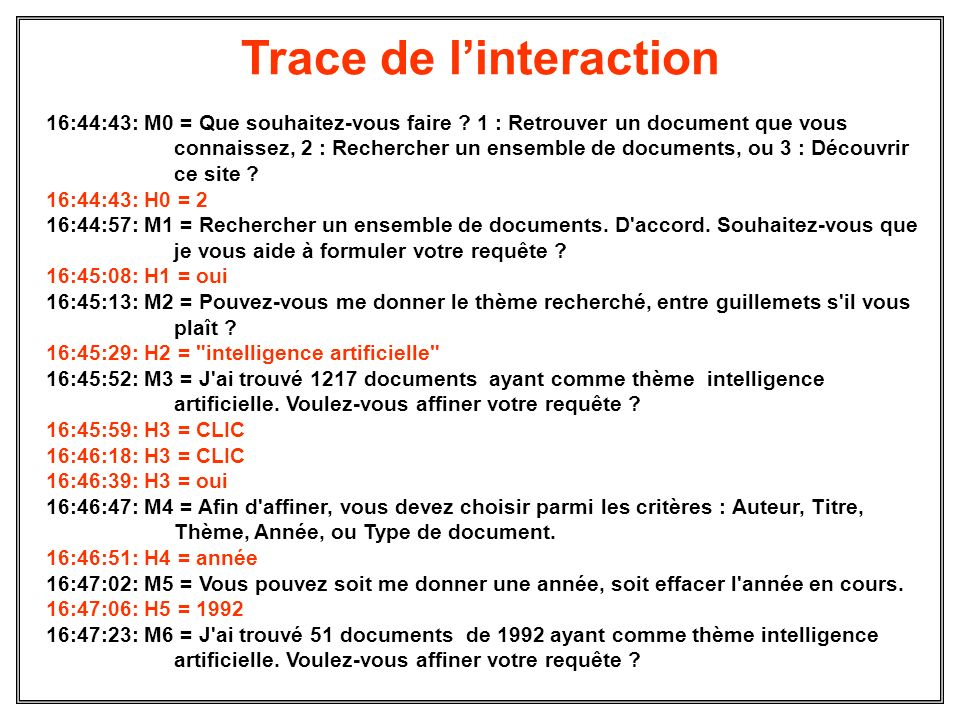Trace de l'interaction