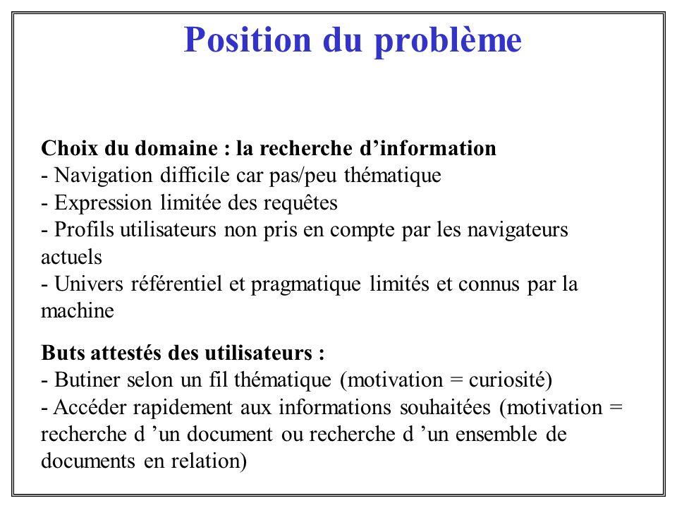 Position du problème Choix du domaine : la recherche d'information