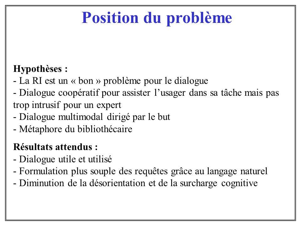 Position du problème Hypothèses :