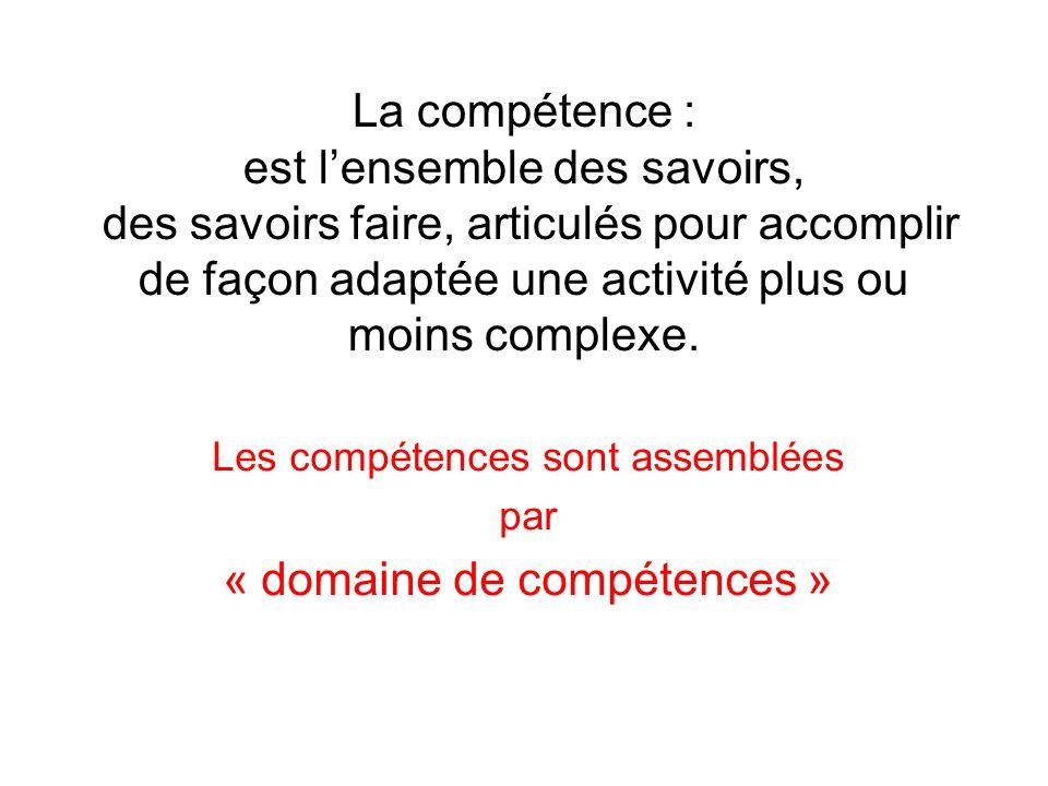 Les compétences sont assemblées par « domaine de compétences »