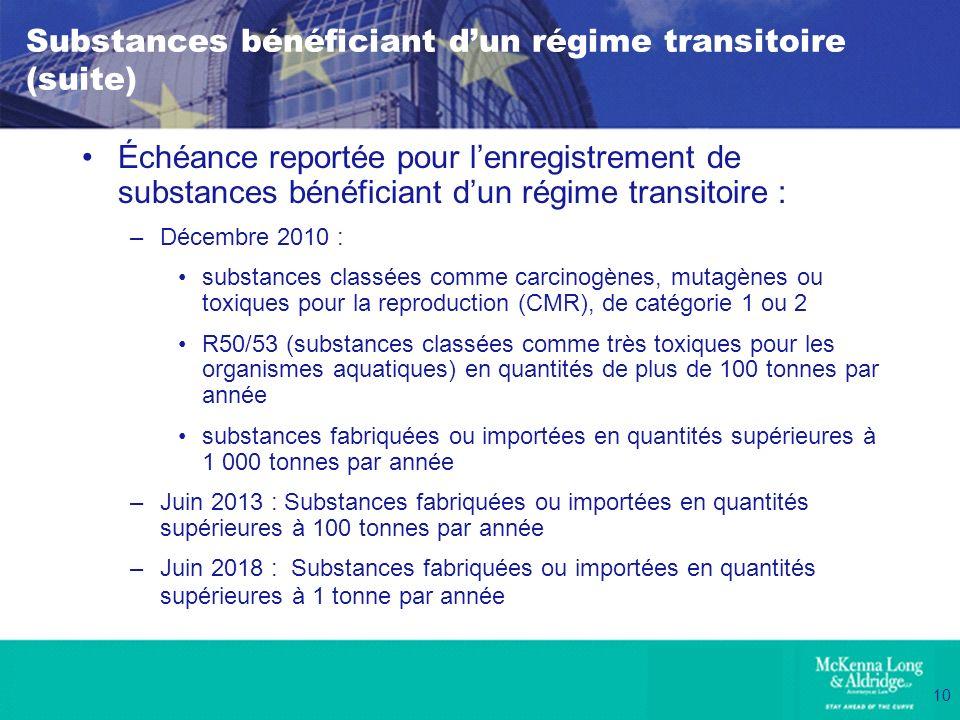Substances bénéficiant d'un régime transitoire (suite)