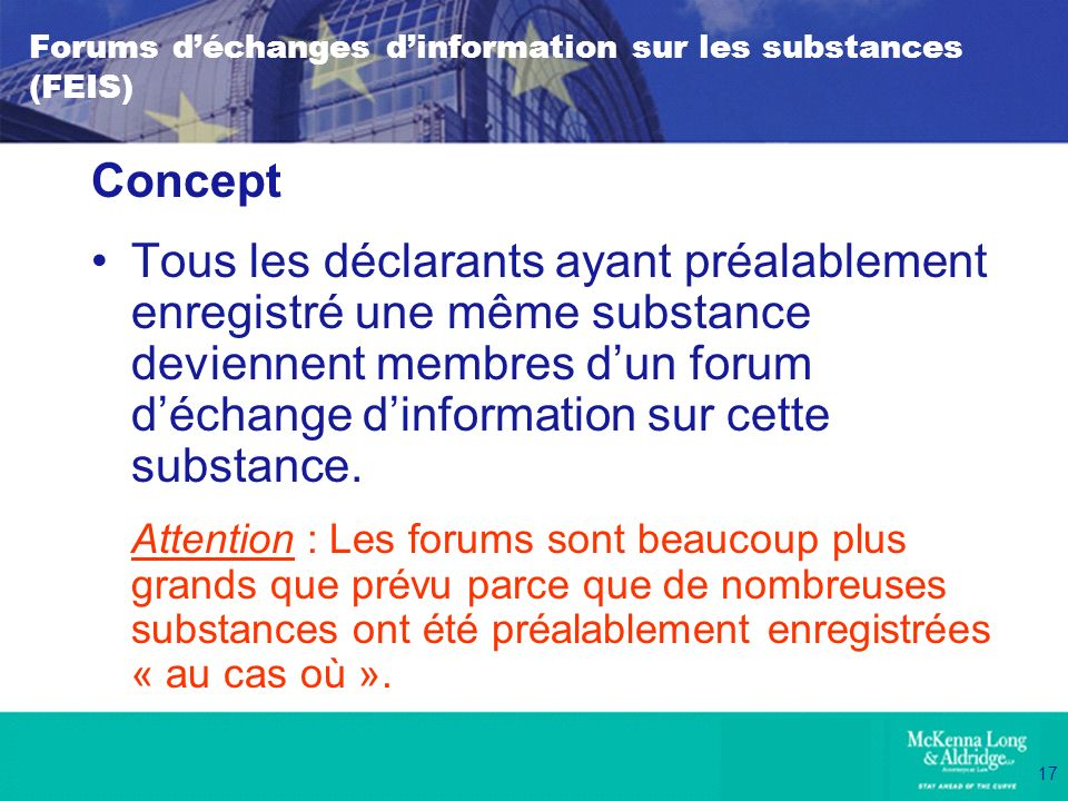 Forums d'échanges d'information sur les substances (FEIS)