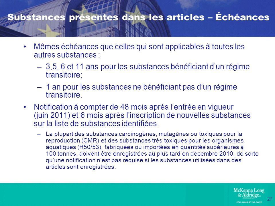Substances présentes dans les articles – Échéances