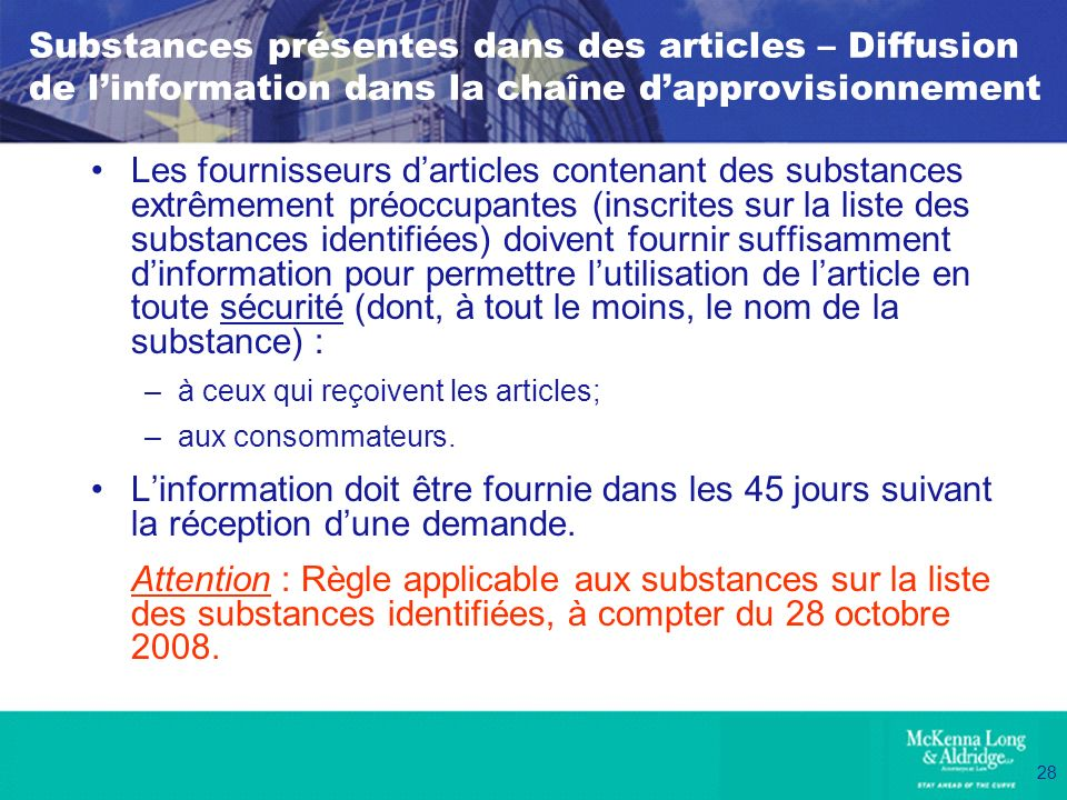 Substances présentes dans des articles – Diffusion de l'information dans la chaîne d'approvisionnement