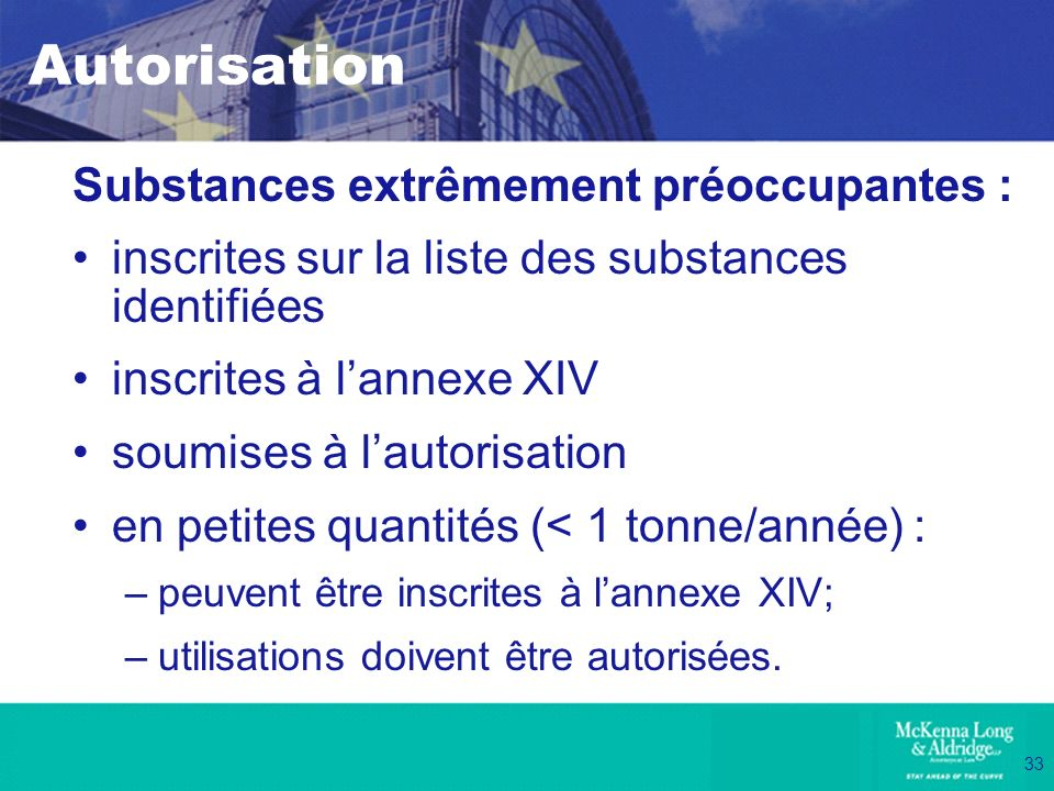 Autorisation Substances extrêmement préoccupantes :