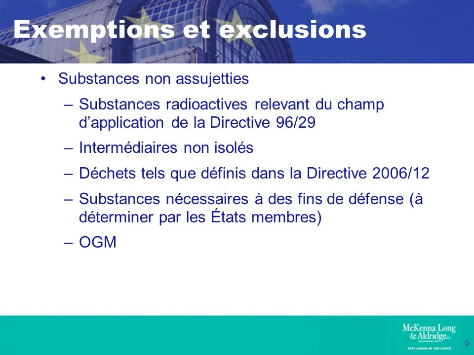 Exemptions et exclusions