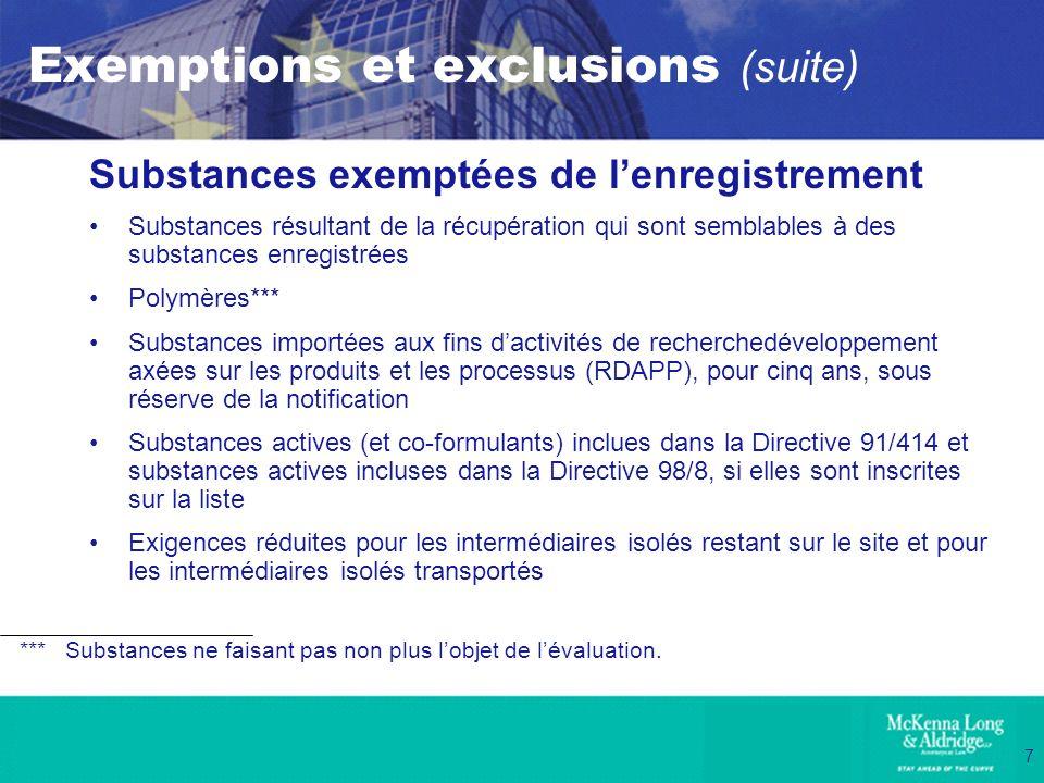 Exemptions et exclusions (suite)
