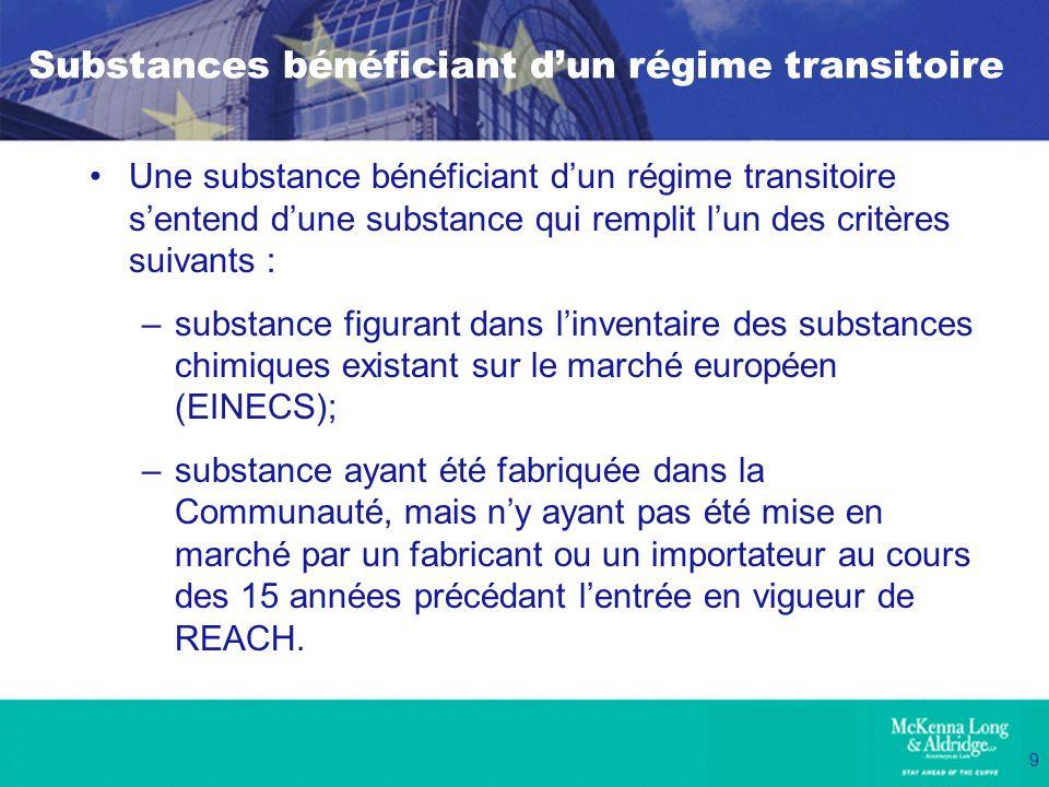 Substances bénéficiant d'un régime transitoire