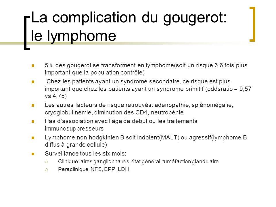La complication du gougerot: le lymphome