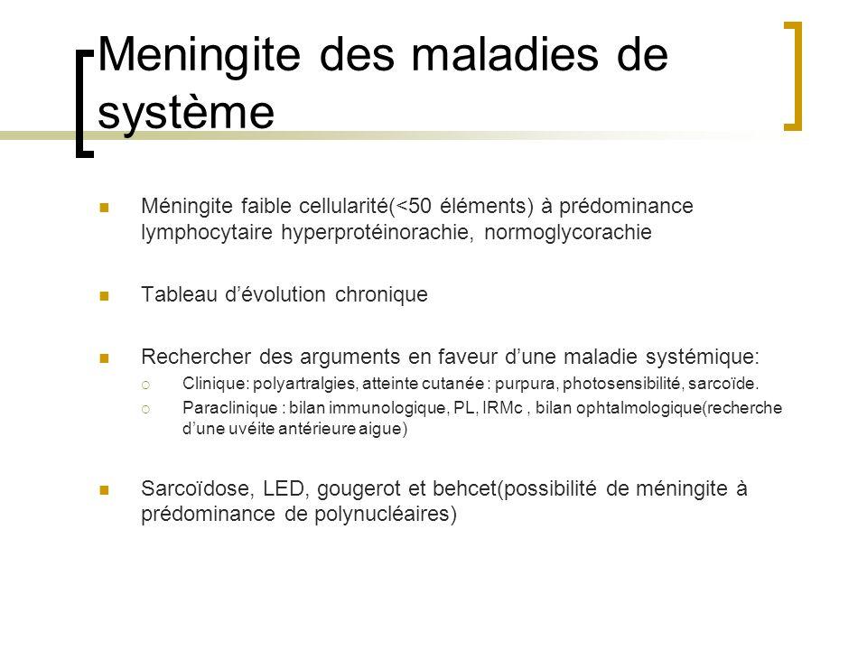 Meningite des maladies de système