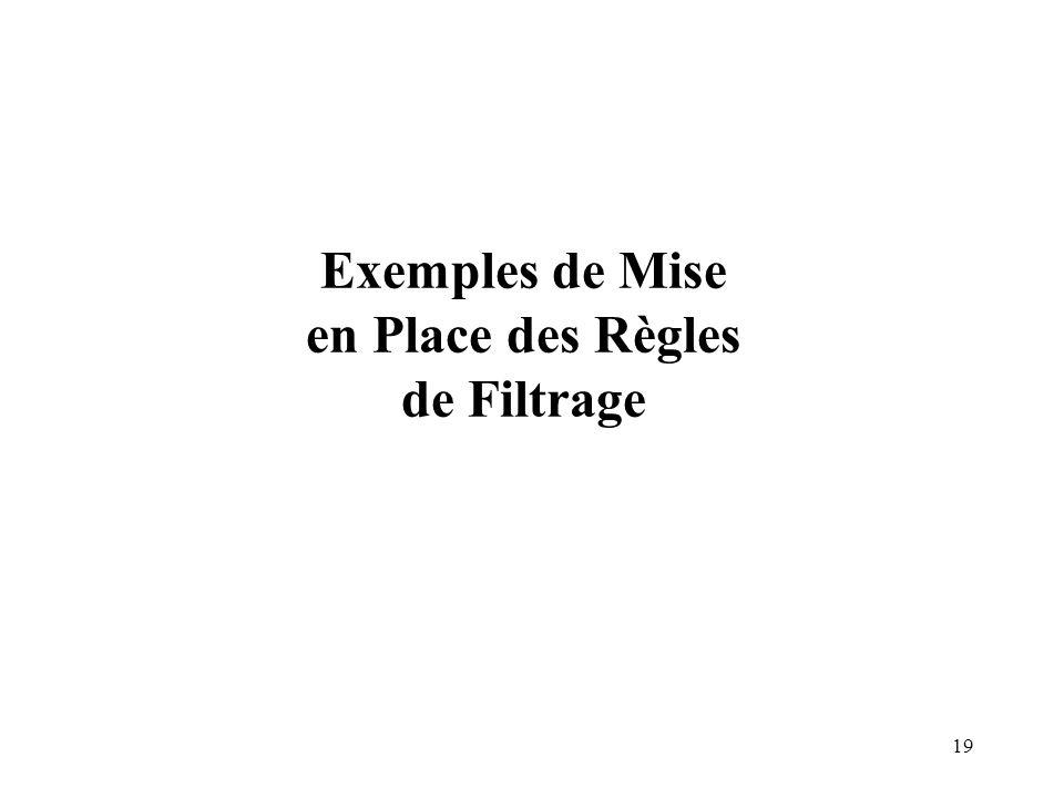 Exemples de Mise en Place des Règles de Filtrage
