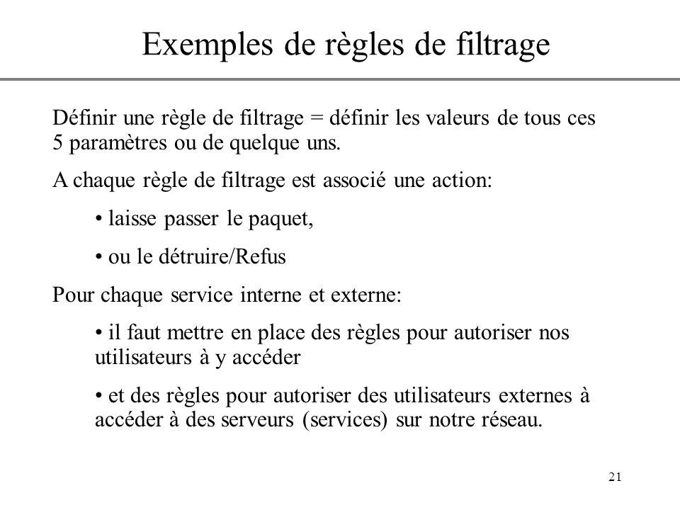 Exemples de règles de filtrage
