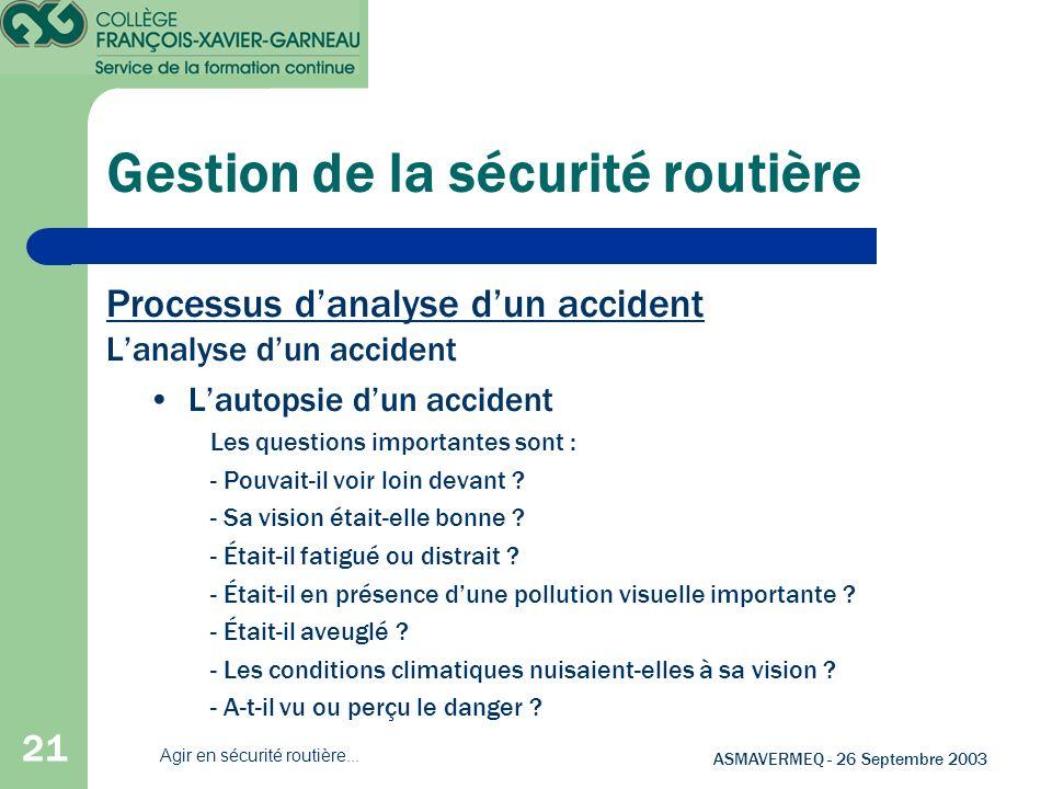 Gestion de la sécurité routière