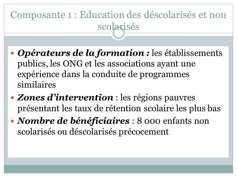 Composante 1 : Education des déscolarisés et non scolarisés