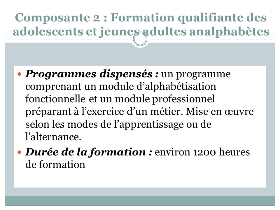 Composante 2 : Formation qualifiante des adolescents et jeunes adultes analphabètes