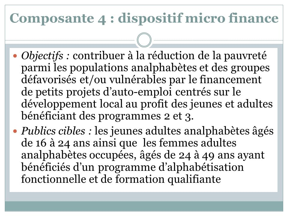 Composante 4 : dispositif micro finance